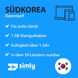 Südkorea Daten SIM-Karte